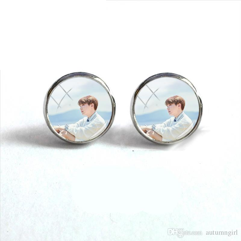 2018 New Korean Band Round Earring Bangtan Boys Stud Earrings Glass Cabochon Photo Jewelry Silver Ear Studs Stainless Steel