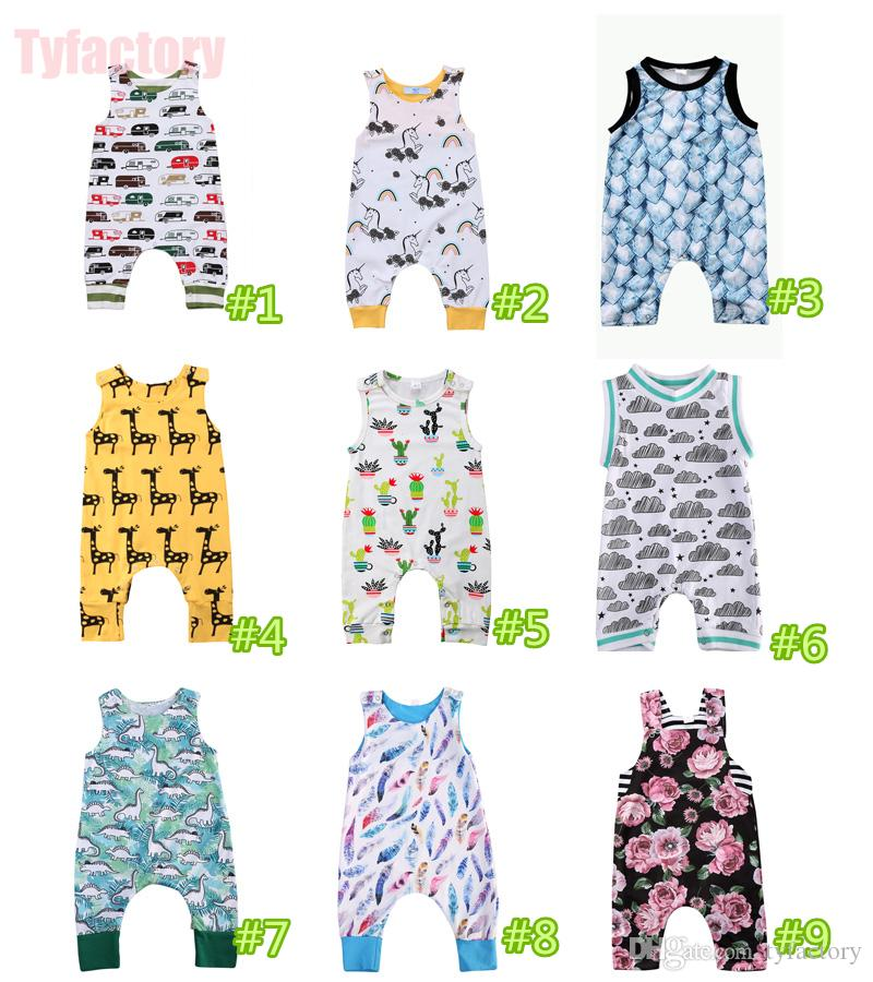 Baby Boys Girls Sleeveless Romper Jumpsuits Onesies Playsuits Bodysuit 18 styles Children Car Cactus Striped Flower Animal Retro Kid Clothes