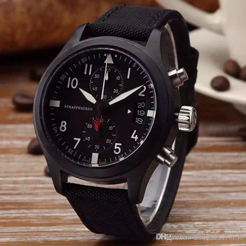 2017 top de luxo relógio pilotos midnight blue dial homens de quartzo assistir 43mm men watch watch.