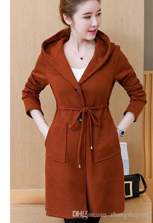 Бесплатно отправить 2017 новый стиль корейский зима трикотажные теплые свободные и удобные пальто женщина ветровка