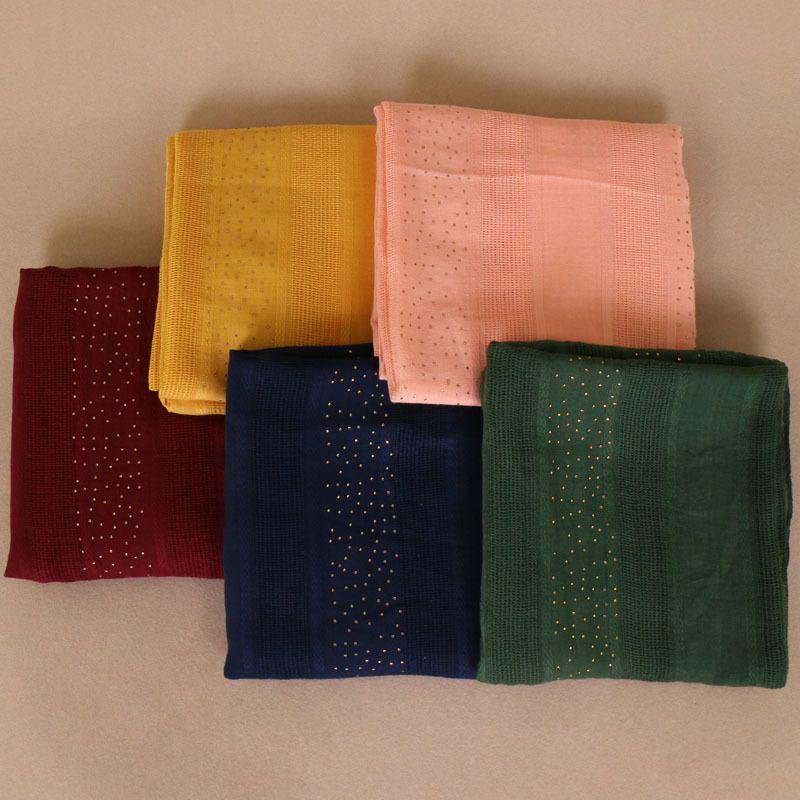 Women's plain diamond scarf solid color cotton scarves drilling plaid muffler headband wrap muslim scarves shawls 180*90cm S18101904