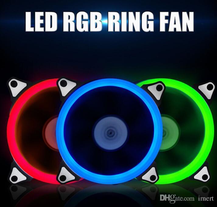 4 colores Ordenador 120mm LED Ventilador 120 MM Abanico Anillo Gids Licht Blauw Rood Groen Promotie