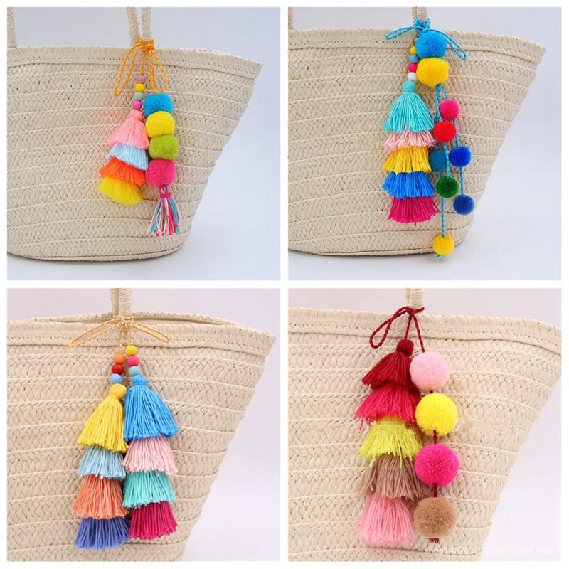 Colorful Fashion Tassel PomPom Charm Pendant DIY For Keychain Bag Accessories