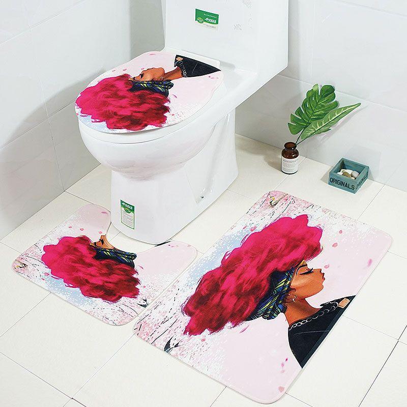 3 unids Alfombras de baño Conjunto Mujer Africana Patrón Alfombra de baño Alfombra de baño antideslizante Tapa Alfombras de baño Aseo de franela Cubierta de asiento de inodoro Alfombra Conjuntos