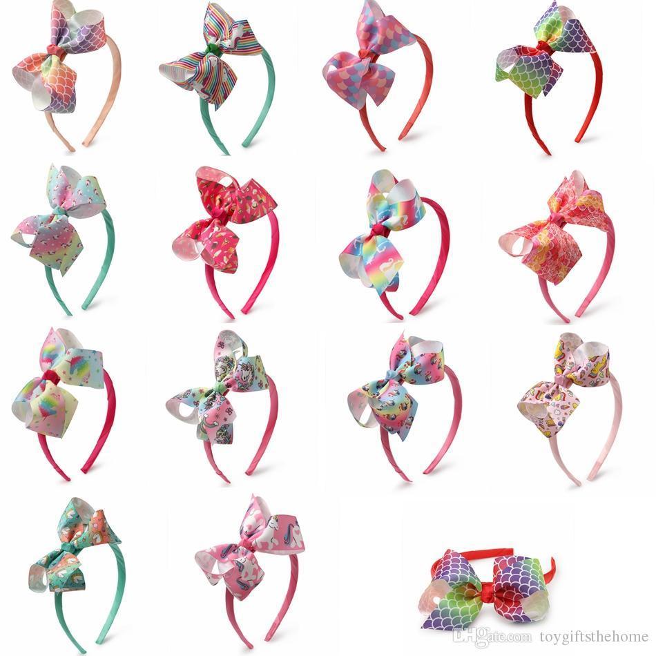 14 couleurs unicorn bandeau bébé fille cheveux arcs enfants pom-pom girl bandeaux tête autocollant cheveux accessoires fête décoration