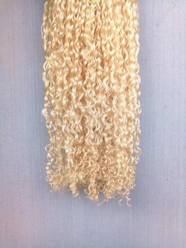 Brazilian Human Virgin Remy Dark Blonde Hair Kinky Curly Hair Weft Soft Double Drawn Hair Extensions Unprocessed