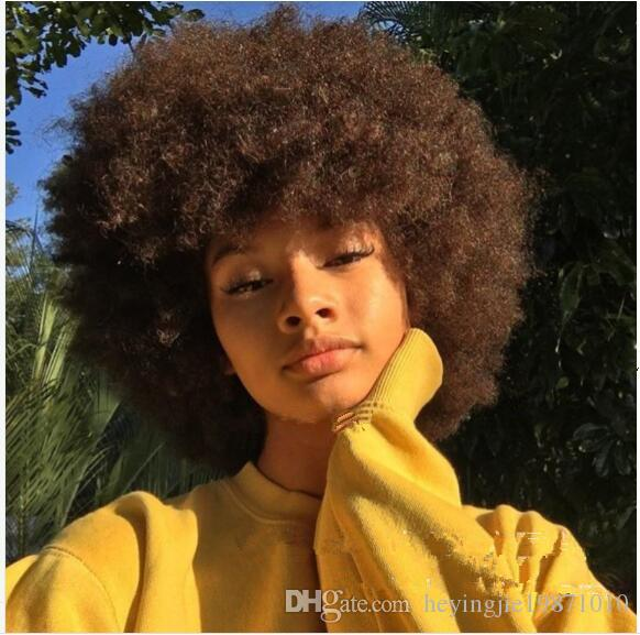 Hot Sale Afro Kinky Curly Wig Fashion Pixie Cut Synthetic Wigs Short Fluffy BOB Brown Hair For Women Full Wigs In Stock