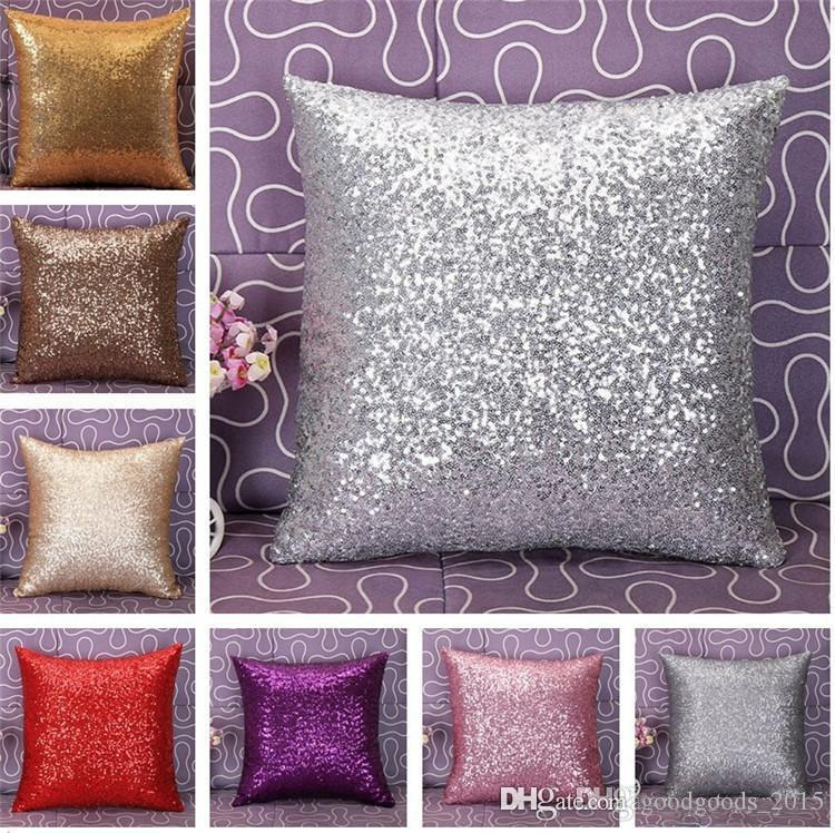 Glitter Sequins Pillow Case Home Decor decorative Cushion Covers High Quality Color Throw Pillow Case b508