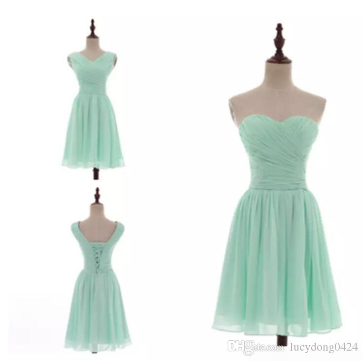 Mixed Styles Pleated Short Chiffon Country Bridesmaid Dresses Mint Green Knee Length Wedding Bridesmaid Dresses 100% Real Pictures