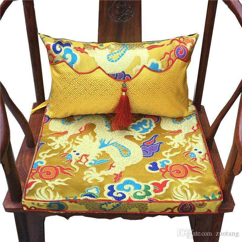 Étnico Luxo Animal Chinês Dragão Assento Da Cadeira Almofada High End Brocade Brocade Lumbar Travesseiro de Costas Rodada Almofadas Decorativas para Sof