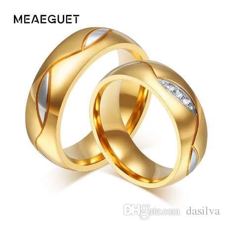Meaeguet Classic Paar Ringe Für Liebhaber Zirkonia Hochzeit Ring Gold-Farbe Edelstahl Anel Schmuck