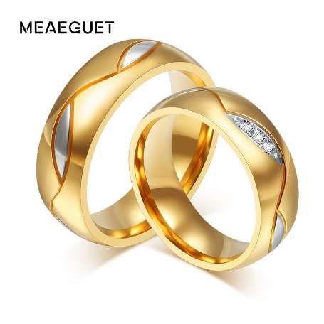 Meaeguet Classique Couple Anneaux Pour Les Amoureux De La Zircone De Mariage Alliance Or-Couleur En Acier Inoxydable Anel Bijoux