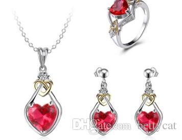 Donne romantiche gioielli moda collana cuore rosso orecchini ad anello set fidanzamento sposa regalo festival di nozze compleanno di Natale