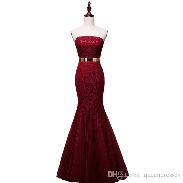 Real Pictures Cheap Burgundy Lace Long Evening Dresses Mermaid Floor Length Evening Gowns Formal Special Occasion Party Dress With Sash