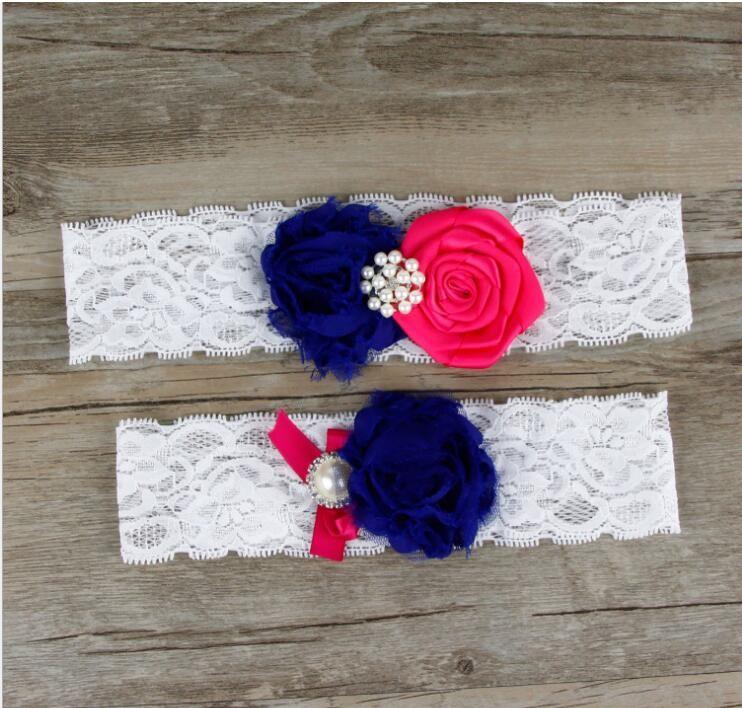 2 pièces ensemble Royal Blue Flowers Jambes De Mariée Jarretières Jarretière De Mariée De Mariée De Mariage Jarret D'Or Perles Taille Libre