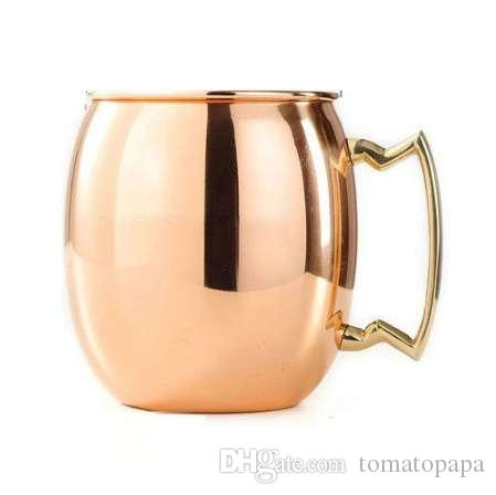 Perfect Smooth Moscow Mule Mug Tambor de cobre-banhado a Cerveja Cup Coffee Cup-de-aço inoxidável-cobre Banhado a cup