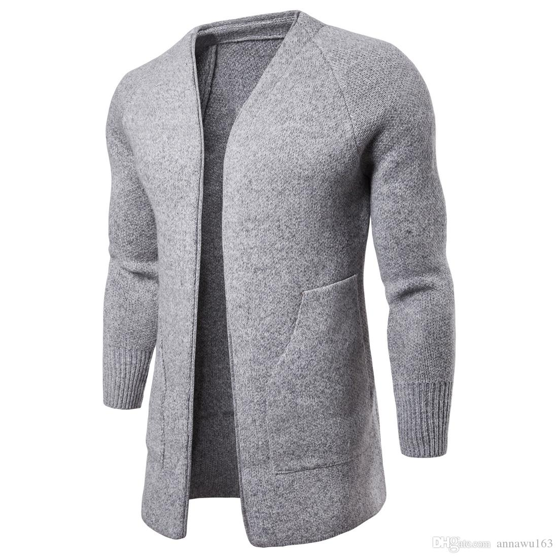 New Designer Cardigan Sweater Men' V-neck Long Sweater With Long Sleeve Cotton Blend Knitted Winter Mens Knitted Coats For Sales