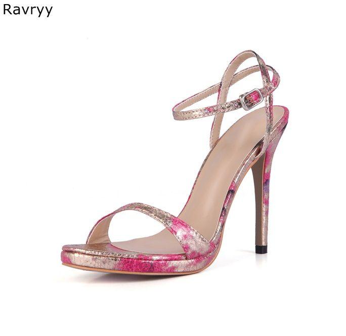 Style concis rose rouge femme sandales haute qualité en cuir cheville boucle sexy pompes talon mince femme chaussures habillées partie talons hauts
