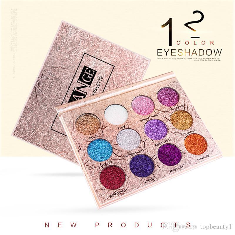 2018 MAANGE 12 renkler Elmas Preslenmiş Altın Parlak Göz Farı Su Geçirmez Pırıltılı Glitter Mat Göz Farı Paleti Seti Güzellik Makyaj.