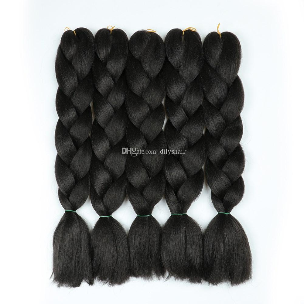 Jumbo Braids Xpression Brading Hair Black Colors Crochet Braids syntheitc extensiones de cabello Marley para mujeres negras 500 g / 5 piezas