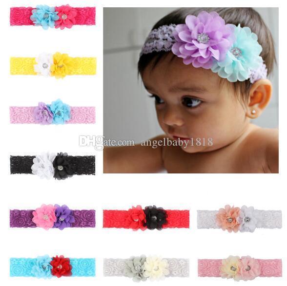 Hairband Cabeza nueva Europa del bebé de la gasa de las flores del cordón de Bandas de bebés y niños pequeños de las vendas de los niños Headwear elástico niños Accesorio para el pelo