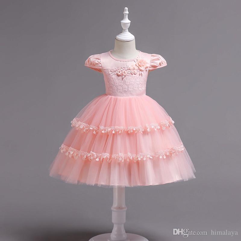 2018 para niños en capas vestidos de princesa de la tarde ropa de fiesta para niños niñas bordado vestido de bola vestido de fiesta para 90-150 cm