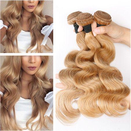 # 27 Honigblondes reines peruanisches Menschenhaar Bundles Deals 3Pcs Lot Erdbeerblondes Haar, das Körperwelle gewelltes reines Menschenhaar einwirft