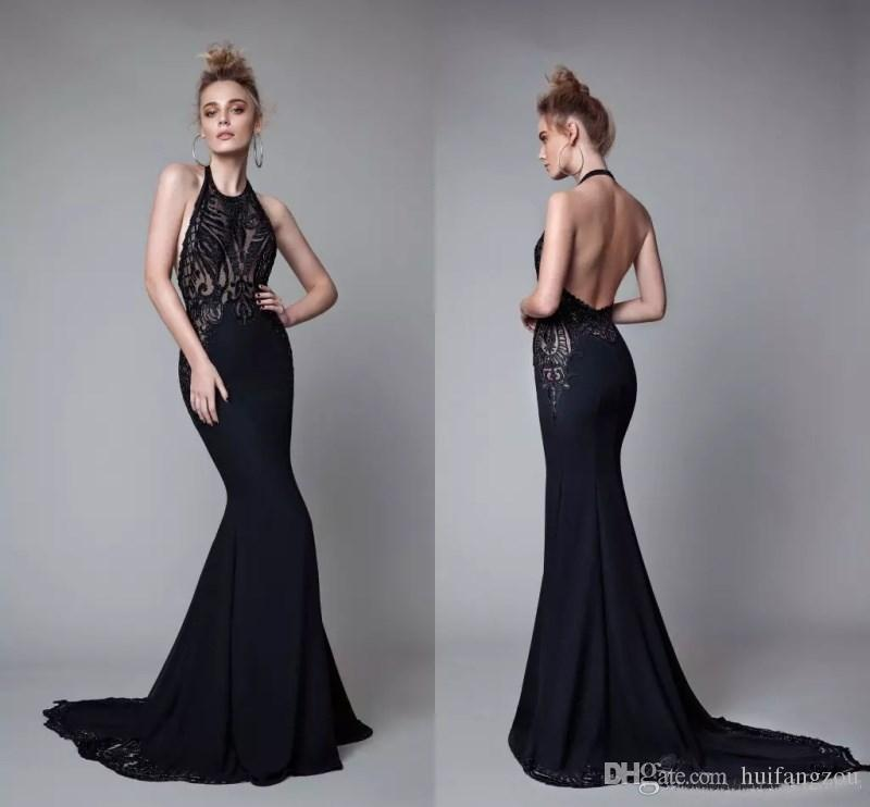 2018 Berta Mermaid Prom Dresses Evening Wear Sexy Black Sheer Lace Appliques Halter Backless Prom Dress Long Satin Formal Red Carpet Gowns