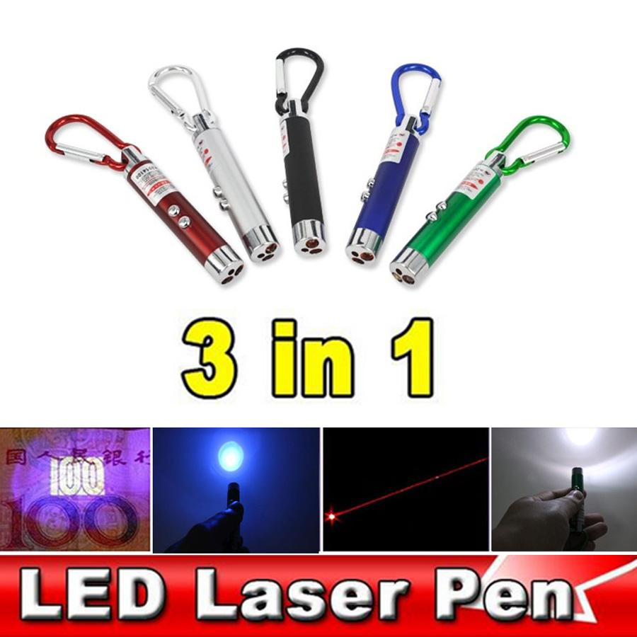 3 In 1 Red Laser Pointer Pen Flashlight Counterfeit Money Detector Climb Hook ßß
