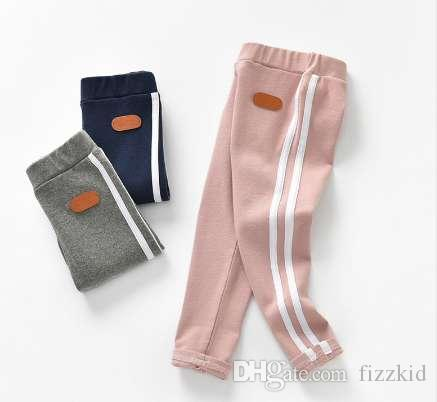 Fashion Side Striped Pants Girls Autumn Spring Leggings Unisex Boys Casual Pants Elastic School Kids Trousers For 3-8 Year