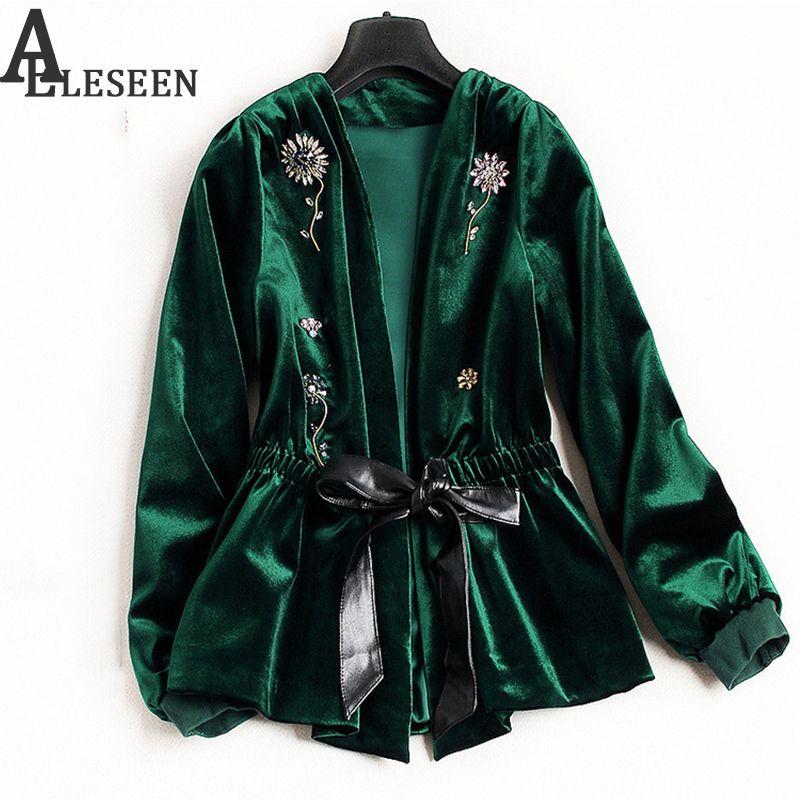 UK Winter New Style Beading Luxury Cardigan Jackets 2018 Long Sleeve Green / Black Spring Flower Velvet Beaded Jacket Women S18101102