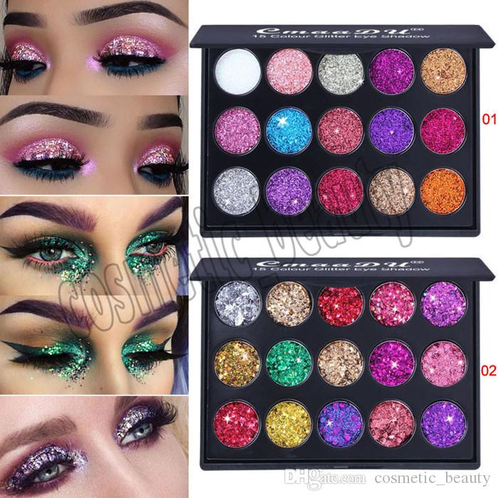 العلامة التجارية CmaaDu Makeup Eyeshadow Palettes 15 Color Diamond Sequins Shiny Glitter Eye Make up 2 Style