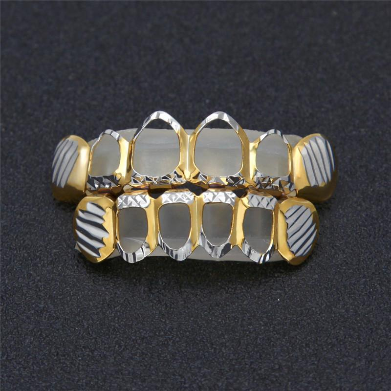 Hollow Vampire Grillz For Men Ice Out Hiphop Teeth Grillz Gold Plated Hip Hop Jewelry Fashion Hollow Dental Grills
