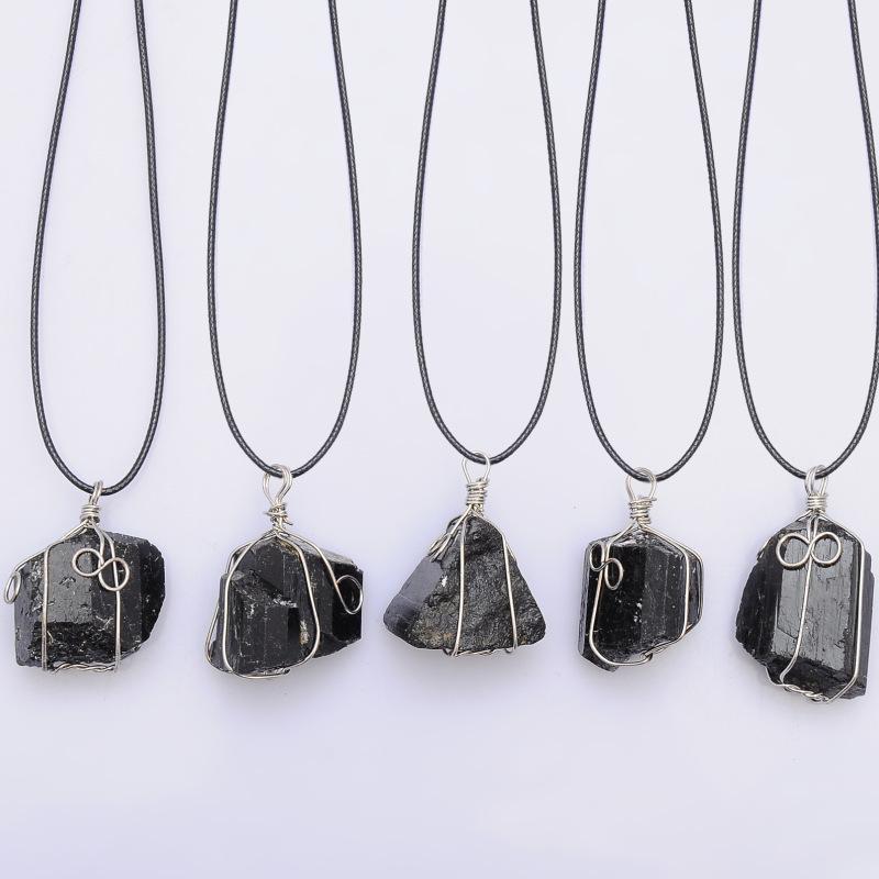 great Black Tourmaline Pendant Necklace Raw Stone Schorl Leather Necklace Chakra Healing Crystal Quartz Point Pendant Natural Stone Necklace