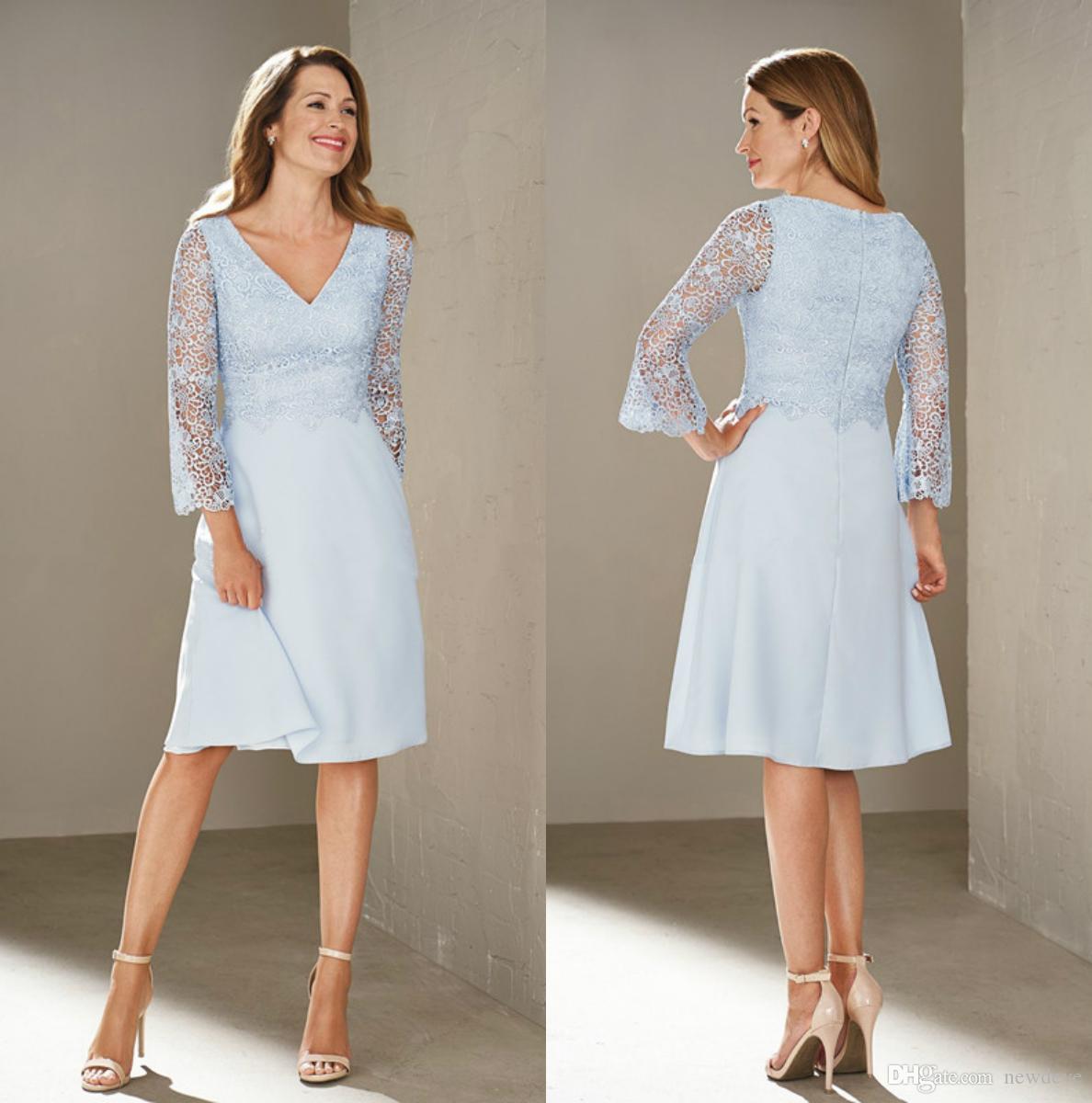 großhandel himmelblau knielangen kleider für die brautmutter v ausschnitt  formelle abendgarderobe spitze hochzeitsgast kleid mit langen Ärmeln von