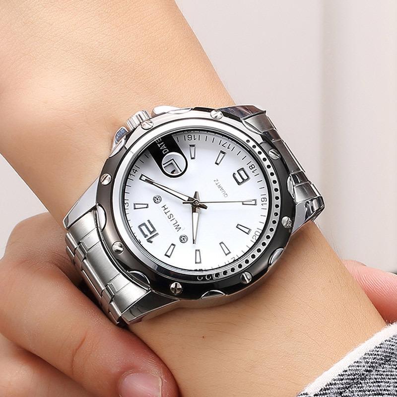 Popular waterproof night-light steel tape watch, calendar business quartz watch successful men's choice