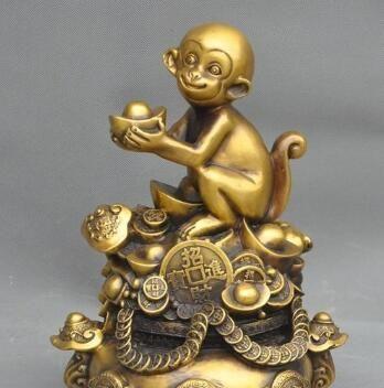 "11""Lucky Chinese Brass Fengshui Wealth yuanbao Money Coin Ruyi Monkey Art Statue"