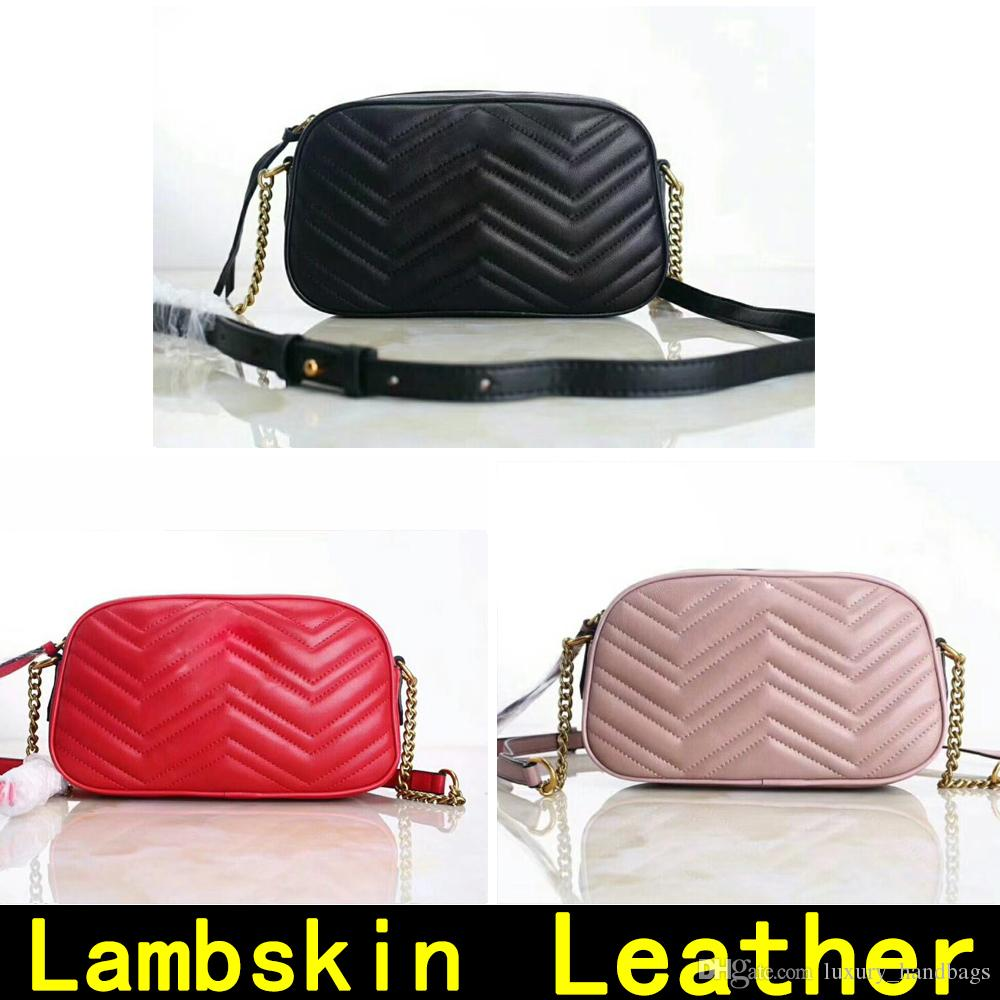 Camera bag Lambskin Cowhide leather Handbags Two size High Quality Handbag genuine leather Shoulder Bags Come with BOX