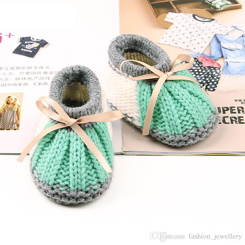 Handmade Newborn Baby Knitted First Walkers Booties Boys Girls Crochet Shoes Winter Warm Toddler Crib Boots 5pairs/10pcs