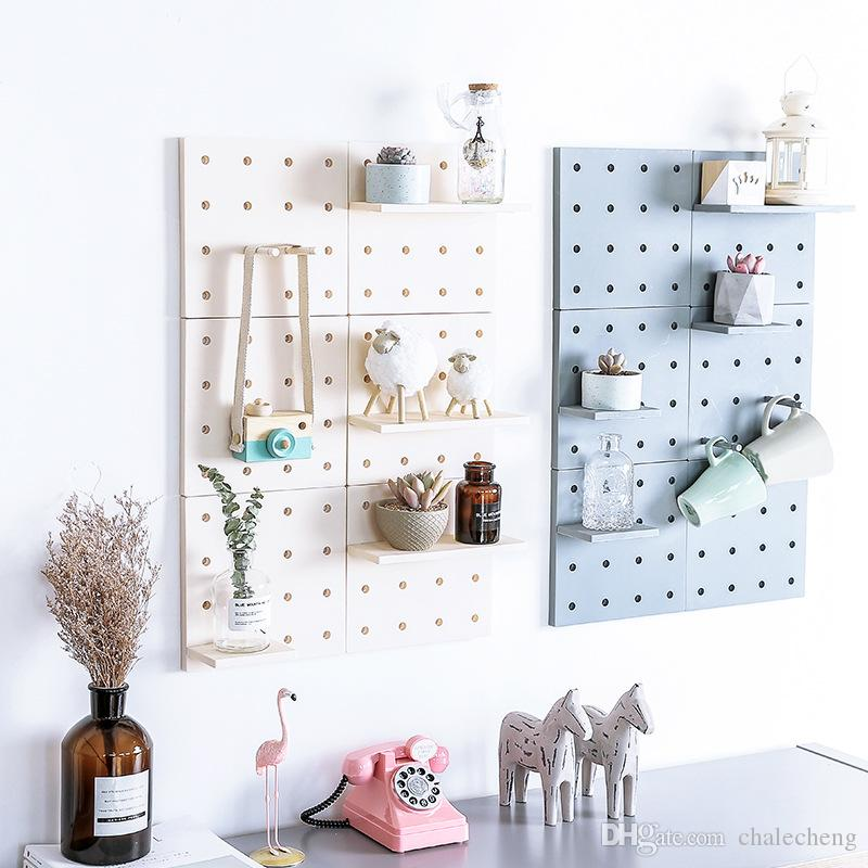 Plastic Peg Board Wall-mounted Storage Rack Living Room Kitchen Bedroom Bathroom Storage Shelf Organizer For Sundries