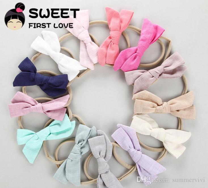Enfants coton lin Bows hairbands boutique filles chiffon Bows Tie coiffe princesse enfants coton multicolore Bowknot corde élastique de cheveux Y0416