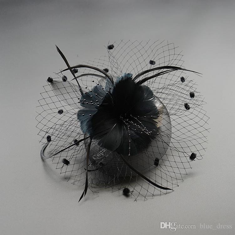 2020 New Black Fascinators Has for Wedding Hats Bridal Hair Accessories Cocktail Hats Party Headwearsv Free Shipping