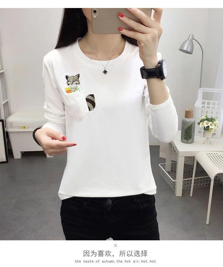 Embroidery T-shirts Women Tshirt O-neck Long Sleeve T-shirts Women Autumn Tops Tee Shirt Femme 2019 Cotton Camisetas Large Size (12)