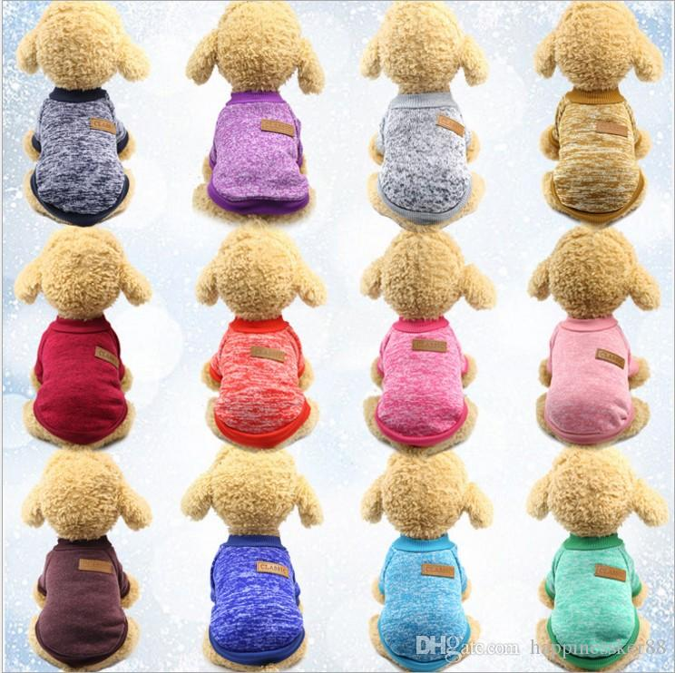 الكلاسيكية كلب سترة معطف ملابس الخريف الدافئة الدفاعية الباردة القطن جرو القط الحياكة الكلاب sweatershirt الملابس