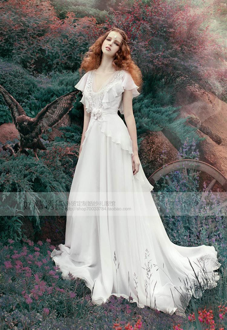 free shipping 2018 new fashion bride long vestidos formal short sleeves v-neck elegant bridal gown lace beach wedding Dresses