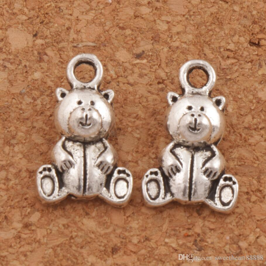 200pcs/lot Sitting Bear Spacer Charm Beads Antique Silver Pendants Alloy Handmade Jewelry DIY L070 10x15.7mm