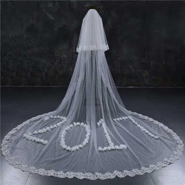 2018 Yeni Stil İki Katmanlar El Yapımı Lüks Düğün Peçe Tarak ile Beyaz Fildişi Uzun Gelin Peçe Velos De Novia