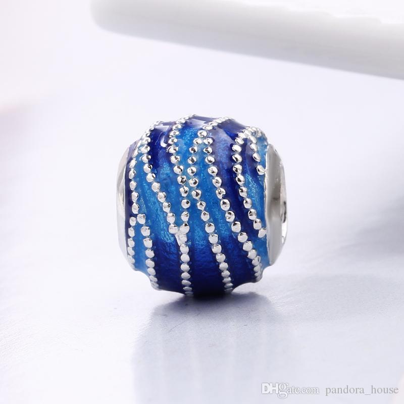 Nouvelle arrivée 2018 Printemps Argent 925 BLEU SWIRLS CHARM Fit Charms original Pandora Bracelet de perles pour la prise de bijoux