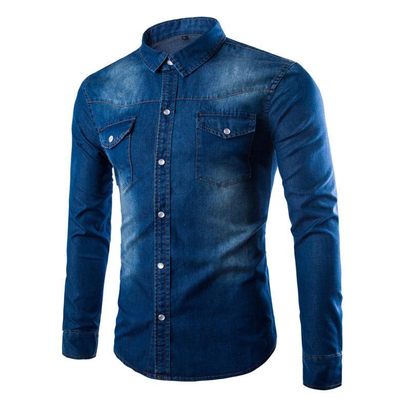 Camisas casuales de los hombres 2021 Hombres de otoño camisa de mezclilla más tamaño Tamaño Girar el cuello Sólido Botón-abajo Cowboy Wash Hombre azul