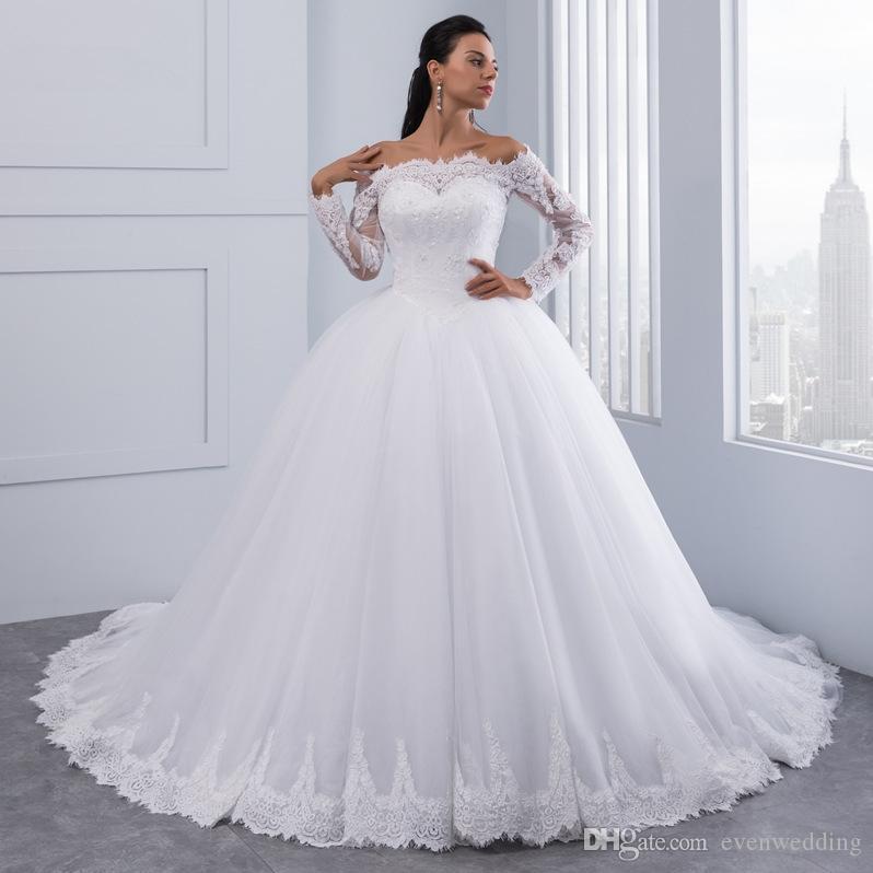 긴 소매 2019 레이스 Appiques 웨딩 가운 어깨 Tulle 공 가운 웨딩 드레스 오프 화이트 아이보리